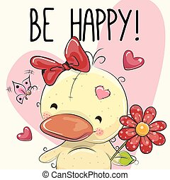 Be Happy Greeting card Cute duckling with hearts and a...