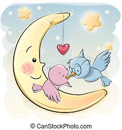 Two Cute Cartoon Birds on a moon background