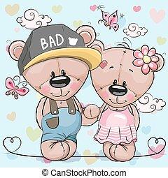 Greeeting card Teddy boy Teddy girl on a hearts background