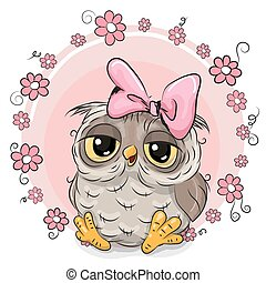 Greeting card owl with flowers