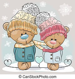 Teddy Bear Boy and Girl - Cute winter illustration Teddy...