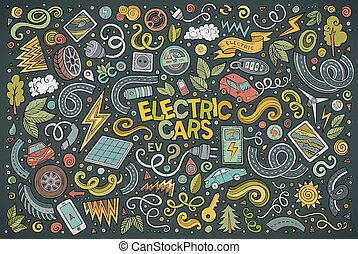 Colorful vector doodle cartoon set of Electric cars objects...