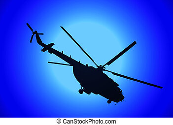 helicopter MI-17 in the night
