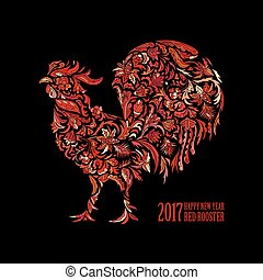 Vector red rooster for the Chinese New year 2017. Doodle...