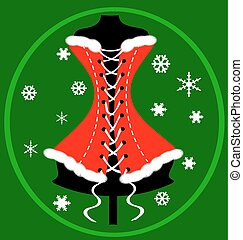 red green festive corset - green background and the large...