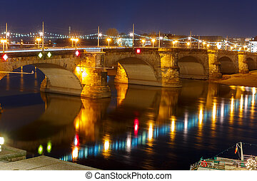 Augustus Bridge, Elba at night, Dresden, Germany - Augustus...