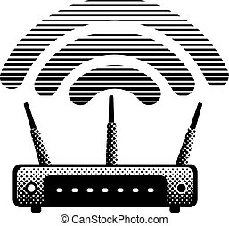 witeless router and modem - black and white illustration of...