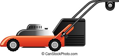 modern red lawn mower - illustration of modern red lawn...