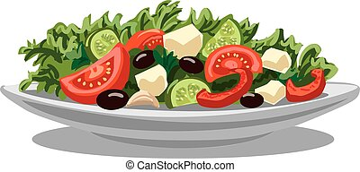 fresh greek salad - illustration of fresh greek salad with...