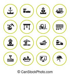 Set round icons of seaport isolated on white. Vector...