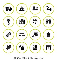 Set round icons of metallurgy isolated on white. Vector...