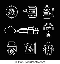 Set line icons of disinfestations isolated on black. Vector...
