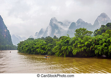 Li River with misty clouds, China - Li river with misty...