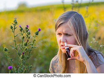 It resolves my difficulty - Woman with hay fever spraying...
