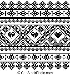 Traditional Ukrainian or Belarusian folk art knitted black...