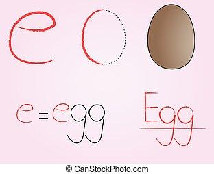 E, Comic alphabet,