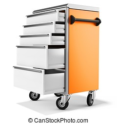 mobile tool cabinet with open drawers on white background 3D...
