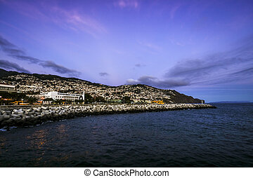 Illuminated Funchal in the evening, Madeira, Portugal -...