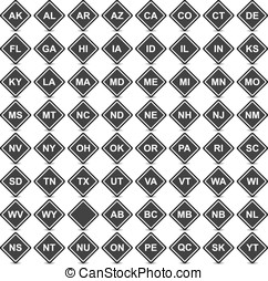 Collection of 64 isolated black and white icons (buttons) on white background with shadows - 50 icons with USA state codes, 13 icons with Canada province codes, 1 empty icon,