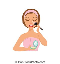 Girl Applying Base Powder Make Up With Cosmetic Brush, Woman With Closed Eyes Doing Home Spa Procedure Illustration