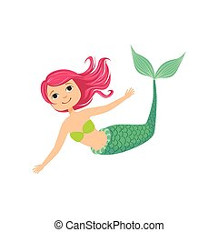 Pink Hair Mermaid In Green Swimsuit Top Bra Fairy-Tale Fantastic Creature Illustration