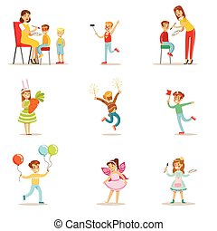 Children In Costume Party Set OF Vector Illustrations With Happy Smiling Kids Having Their Faces Painted And Demonstrating Disguises At Festival Celebration
