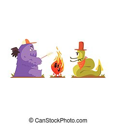 Two Monsters Warming Up And Frying Marshmallows Next To Alive Fire Creature, Alien Camping And Hiking Cartoon Illustration