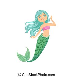 Blue Hair Mermaid In Purple Swimsuit Top Bra Fairy-Tale Fantastic Creature Illustration