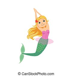 Blond Mermaid In Purple Swimsuit Top Bra With Starfish In Hair Fairy-Tale Fantastic Creature Illustration