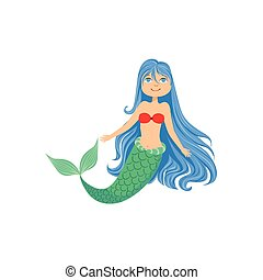 Blue Hair Mermaid In Red Swimsuit Top Bra Fairy-Tale Fantastic Creature Illustration
