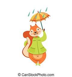 Red Squirrel In Autumn Coat With Umbrella Under The Rain...