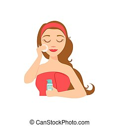 Girl Removing Make Up With Skincare Product And Cotton...