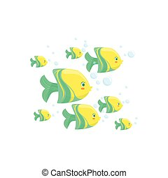 Green And Yellow Fantastic Tropical Fish School Set Of Marine Animals