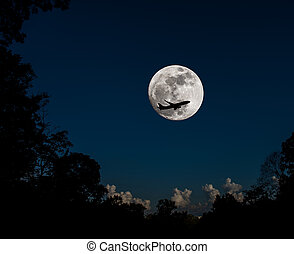 full moon and silhouette plane . - full moon and silhouette...