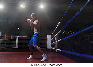 Strenght - Young athlete with gloves in boxing ring