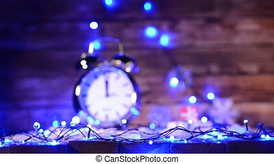 Xmas set with big alarm clock counting to twelve o'clock -...