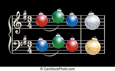 Baubles Christmas Song Musical Notation - Colorful baubles...