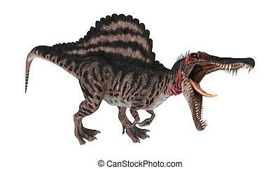 3D Rendering Dinosaur Spinosaurus on White - 3D digital...