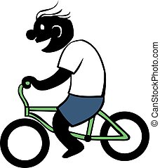Boy Riding Bycicle - Simple cartoon of boy riding bicycle