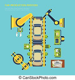Car Production Line Poster - Top view poster of car...