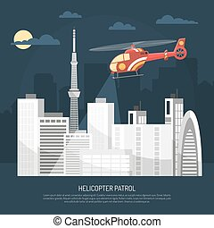 Helicopter Patrol Illustration - Red patrol helicopter...