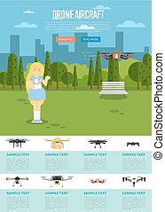 Drone aircraft website template with flying robot - Drone...