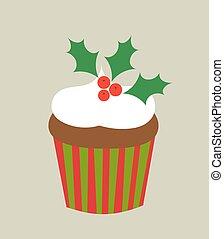 Christmas cupcake vector
