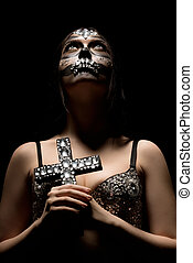 Santa Muerte. Photo of glamorous girl with make-up - Santa...