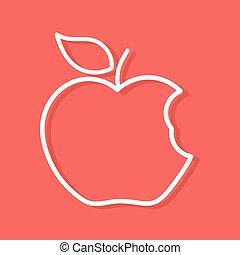 Bitten apple outline shape - Linear white shape of bitten...