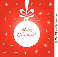 Christmas bauble red card - Christmas bauble red greeting...