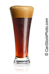 glass of dark beer isolated on white background