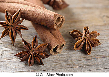 cassia sticks (Cinnamomum Chinese) and Star Anise on wooden...