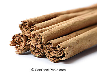true cinnamon sticks isolated on white background