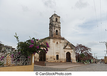 Old colonial church on a square in Trinidad, Cuba